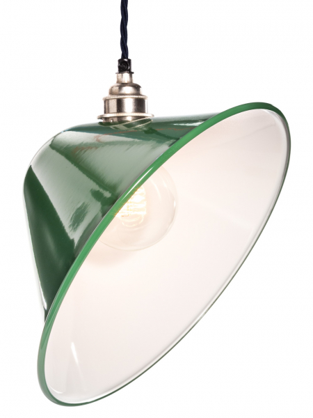 Angled Green Enamel Lamp Shade