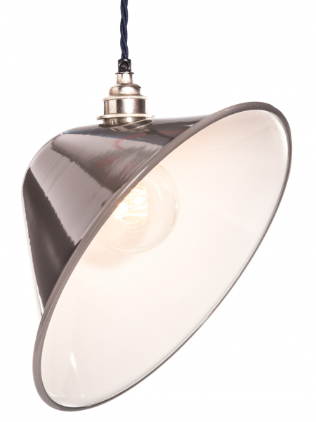 Angled Grey Enamel Lamp Shade