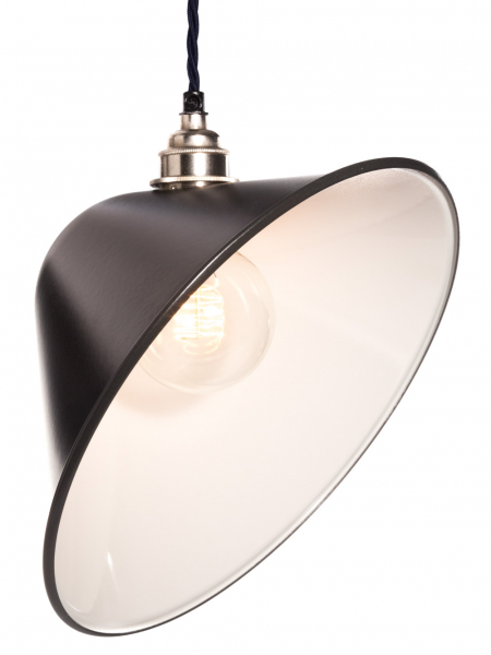 Angled Matt Black Enamel Lamp Shade