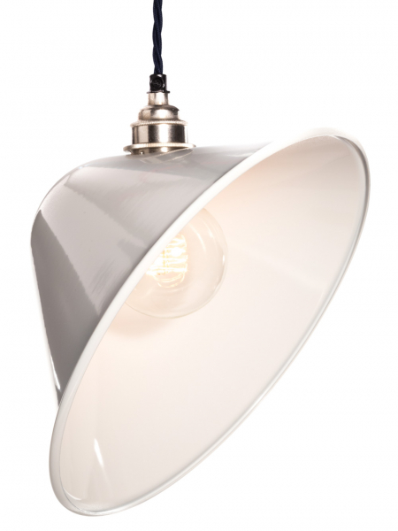 Angled White Enamel Lamp Shade