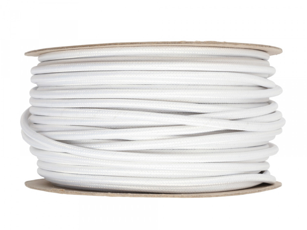 Antique White Round Fabric Lighting Cable 3 Core