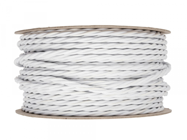 Antique White Twisted Lighting Cable 3 Core