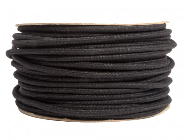 Black Linen Round Fabric Lighting Cable 3 Core