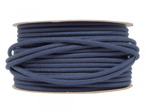 Blue Linen Round Fabric Lighting Cable 3 Core