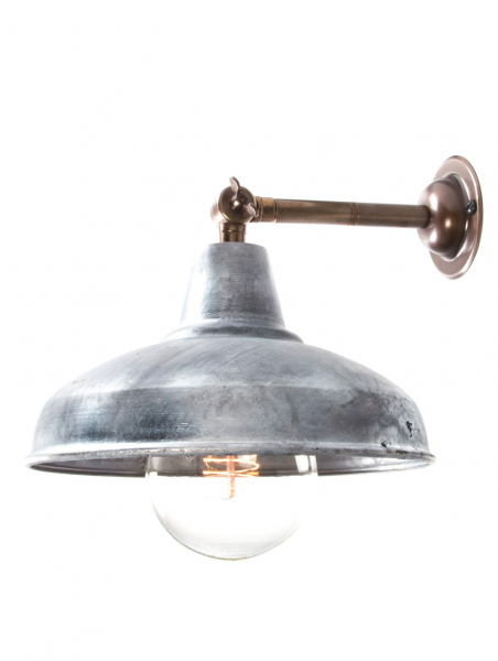 Maria Banjo Brass Wall Light Galvanised Shade