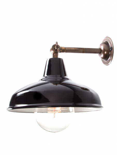 Maria Banjo Brass Wall Light Gloss Black Shade