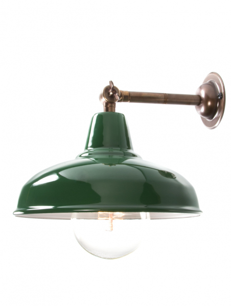Maria Banjo Brass Wall Light Green Shade