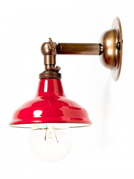 brass maria sconce red miniature shade