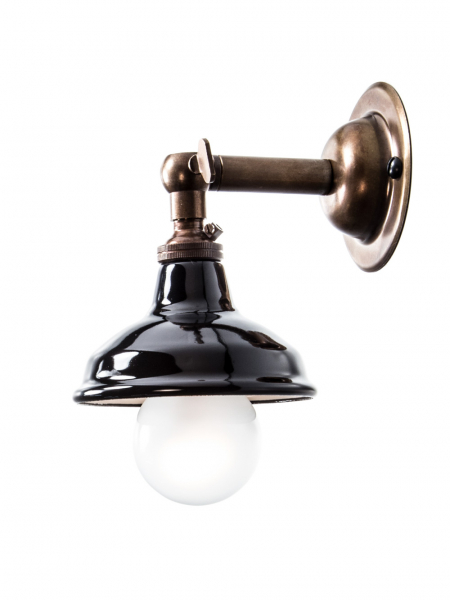 brass wall light gloss black enamel shade