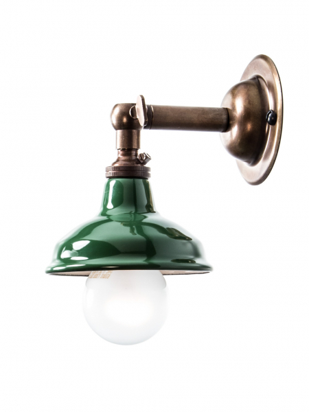 Brass Maria Sconce Wall Light Green Enamel Shade