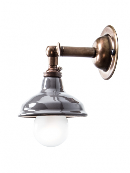 Brass Maria Sconce Wall Light with Grey Shade