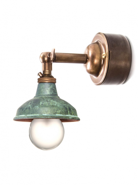 Brass Maria Sconce with Pattress Wall Light with Verdigris Copper Shade