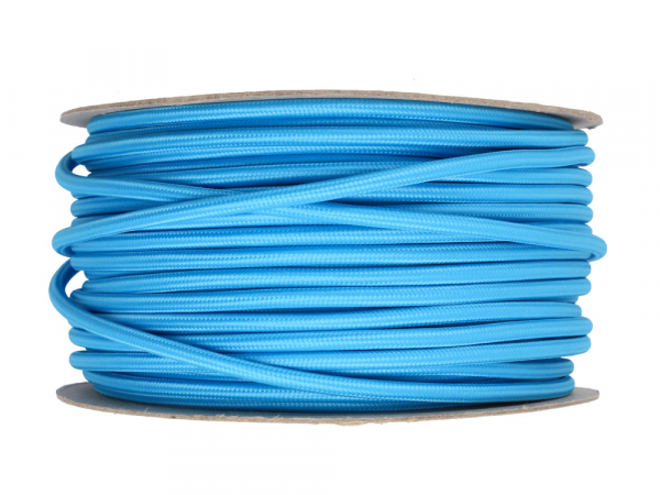 Bright Blue Round Fabric Lighting Cable 3 Core