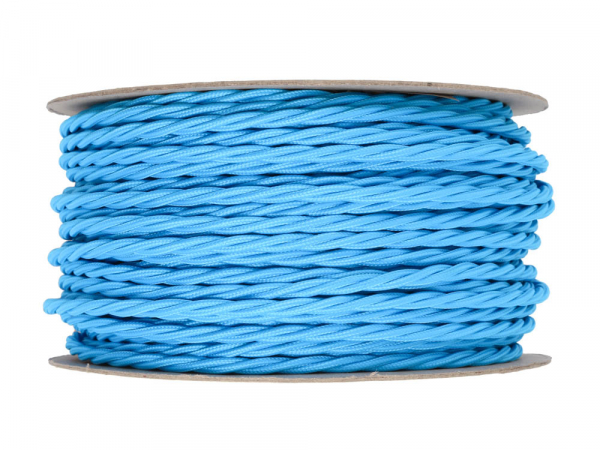 Bright Blue Twisted Lighting Cable 3 Core
