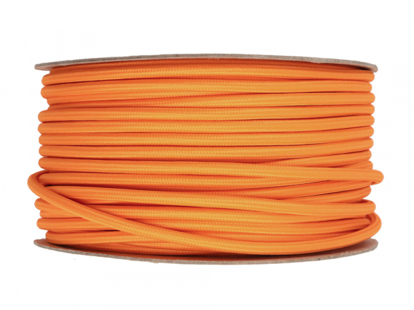 Bright Orange Round Fabric Lighting Cable 3 Core