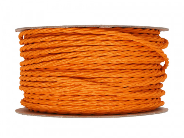 Bright Orange Twisted Lighting Cable 3 Core