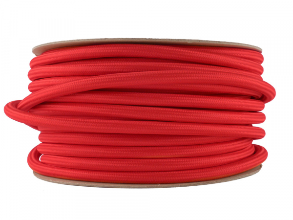 Bright Red Fabric Power Cable 3 Core