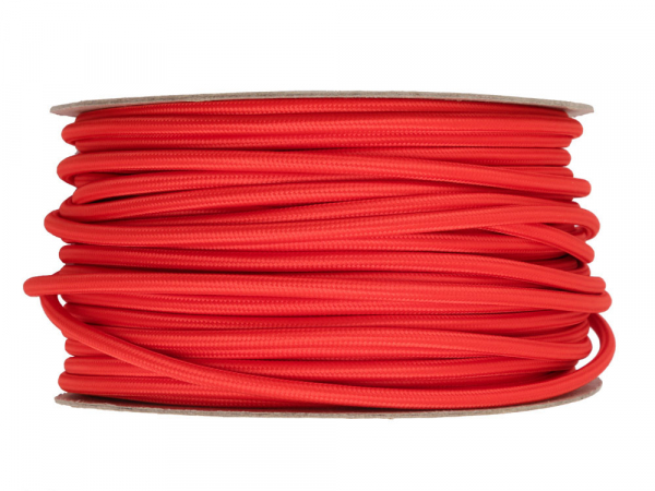 Bright Red Round Fabric Lighting Cable 3 Core