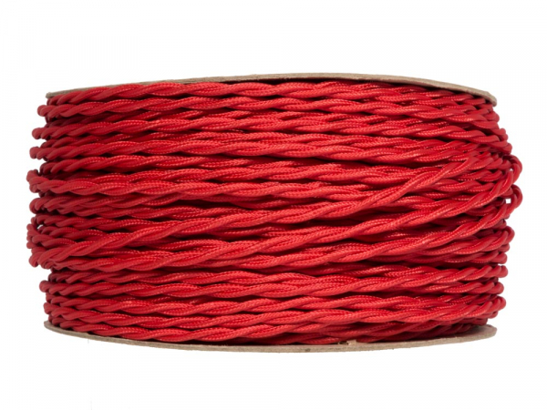 Bright Red Twisted Fabric Lighting Cable 2 Core
