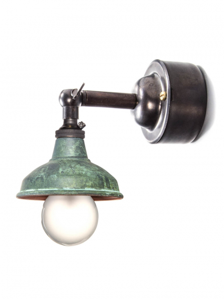 Bronze Maria Sconce Wall Light Verdigris Copper Shade With Pattress