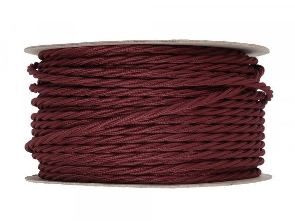 Burgundy Twisted Lighting Cable 3 Core