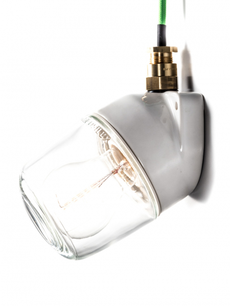 Ceramic Bathroom & Outdoor Wall Light IP54 Clear Glass Slanted