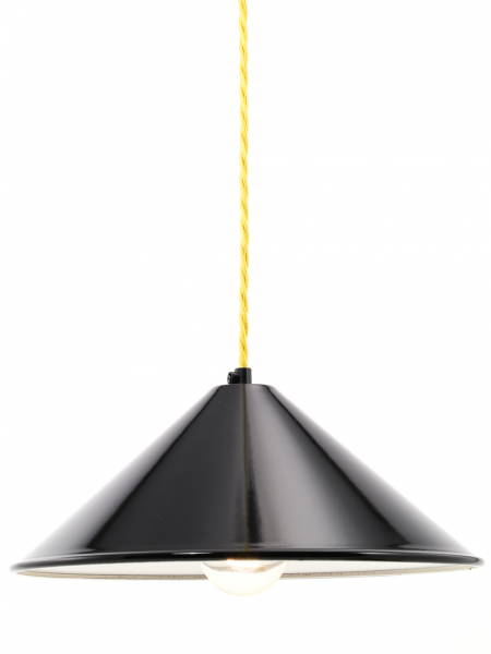 Coolie Gloss Black Enamel Lamp Shade
