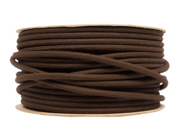 Brown Linen Round Fabric Lighting Cable 3 Core