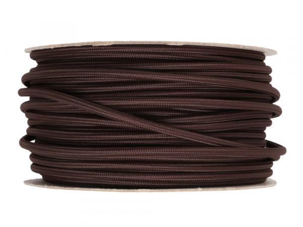 Dark Brown Round Fabric Lighting Cable 3 Core
