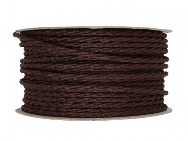 Dark Brown Twisted Lighting Cable 3 Core