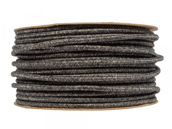 Dark Linen Round Fabric Lighting Cable 3 Core