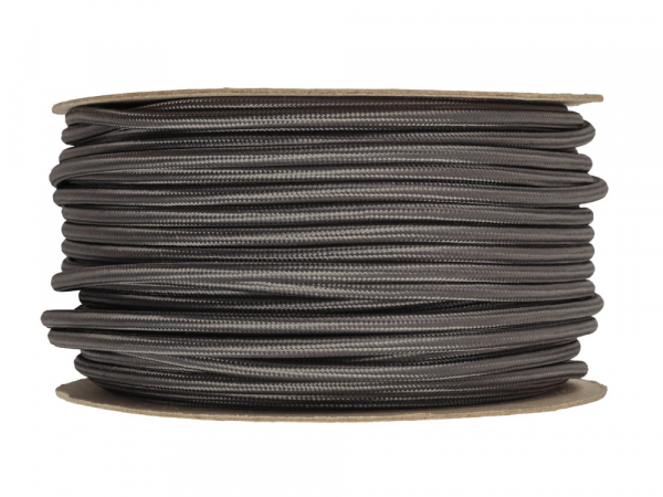 Elephant Grey Round Fabric Lighting Cable 3 Core
