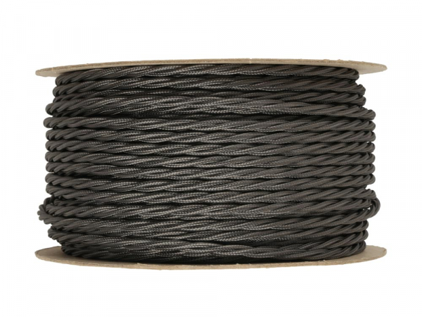 Elephant Grey Twisted Lighting Cable 3 Core