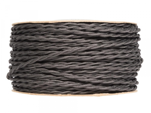Elephant Grey Twisted Fabric Lighting Cable 2 Core