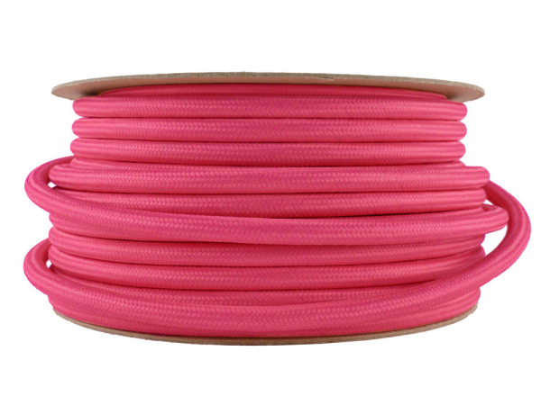 Fuchsia Pink Fabric Power Cable 3 Core