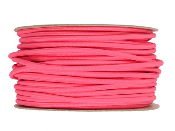 Fuchsia Pink Round Fabric Lighting Cable 3 Core