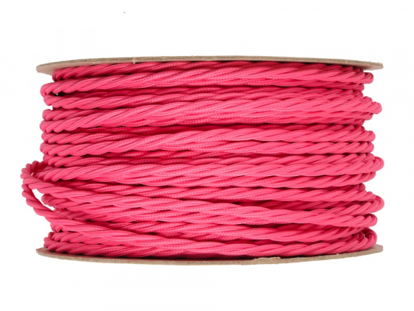 Fuchsia Pink Twisted Lighting Cable 3 Core