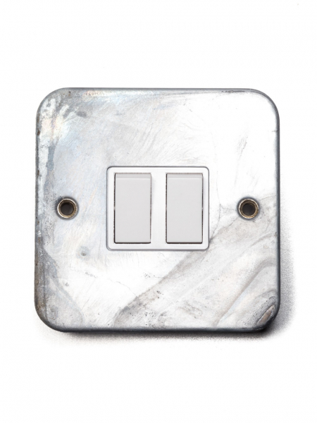Galvanised Double Light Switch Two-Way