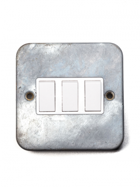 Galvanised Triple Light Switch Two-Way