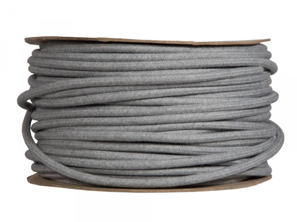 Grey Marl Round Fabric Lighting Cable | 3 Core