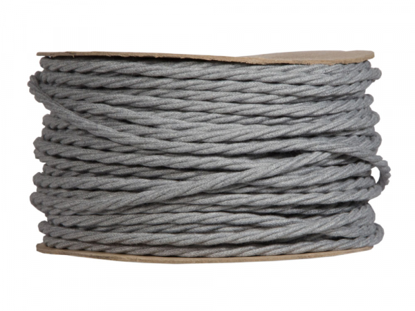 Grey Marl Twisted Lighting Cable | 3 Core
