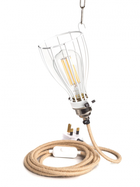 White Inspection Lamp with Hessian lighting cable