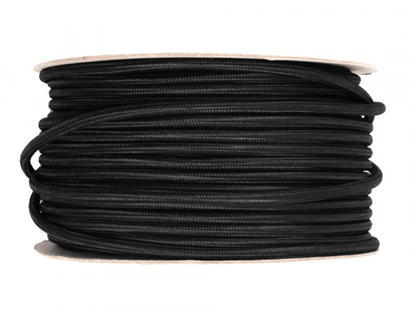 Jet Black Round Fabric Lighting Cable 3 Core