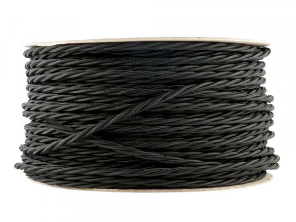 Jet Black Twisted Lighting Cable 3 Core