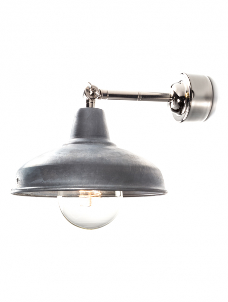 Silver Maria Banjo | Wall Light Galvanised Shade | With Pattress