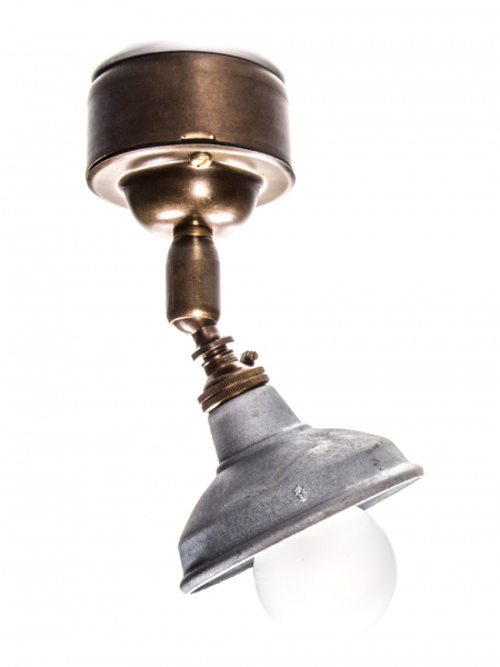 Brass Maria Spotlight Ceiling Light Galvanised Shade Pattress