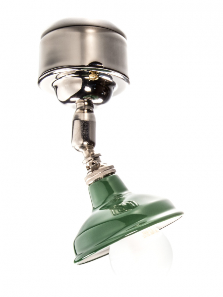 Silver Maria Spotlight with Pattress Ceiling Light Green Enamel Shade