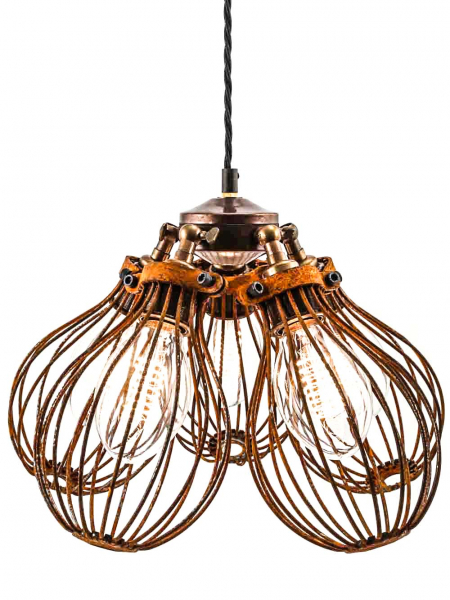 Maria Steampunk Rusted Pendant Five Cage Light