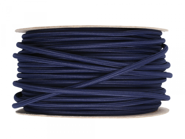 Navy Blue Round Fabric Lighting Cable 3 Core