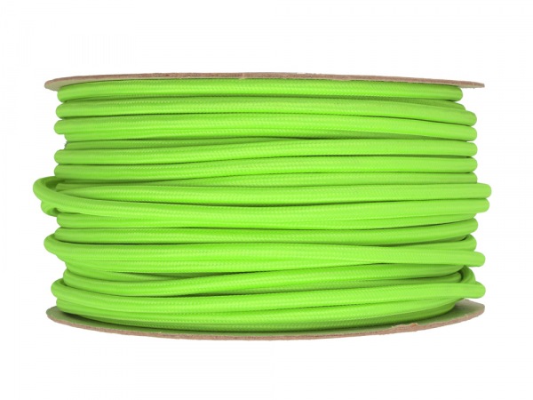 Neon Green Round Fabric Lighting Cable 3 Core